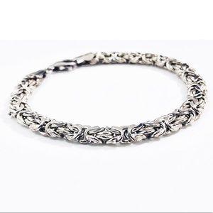 Sterling Silver Byzantine Bracelet Italy 925